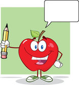 Red Apple Holding Up A Pencil With Speech Bubble