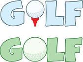 Fotografie Golf Text mit Golfball Abschlag