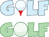 Golf Text mit Golfball Abschlag