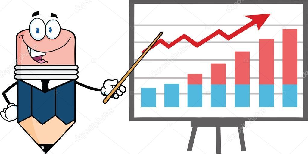 Business-Bleistift-Charakter mit Zeiger präsentiert ein progressive ...