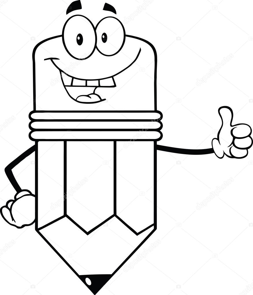 Outlined Happy Pencil Character Giving A Thumb Up — Stock ...