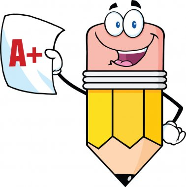 Smiling Pencil Holding An A Plus Report Card