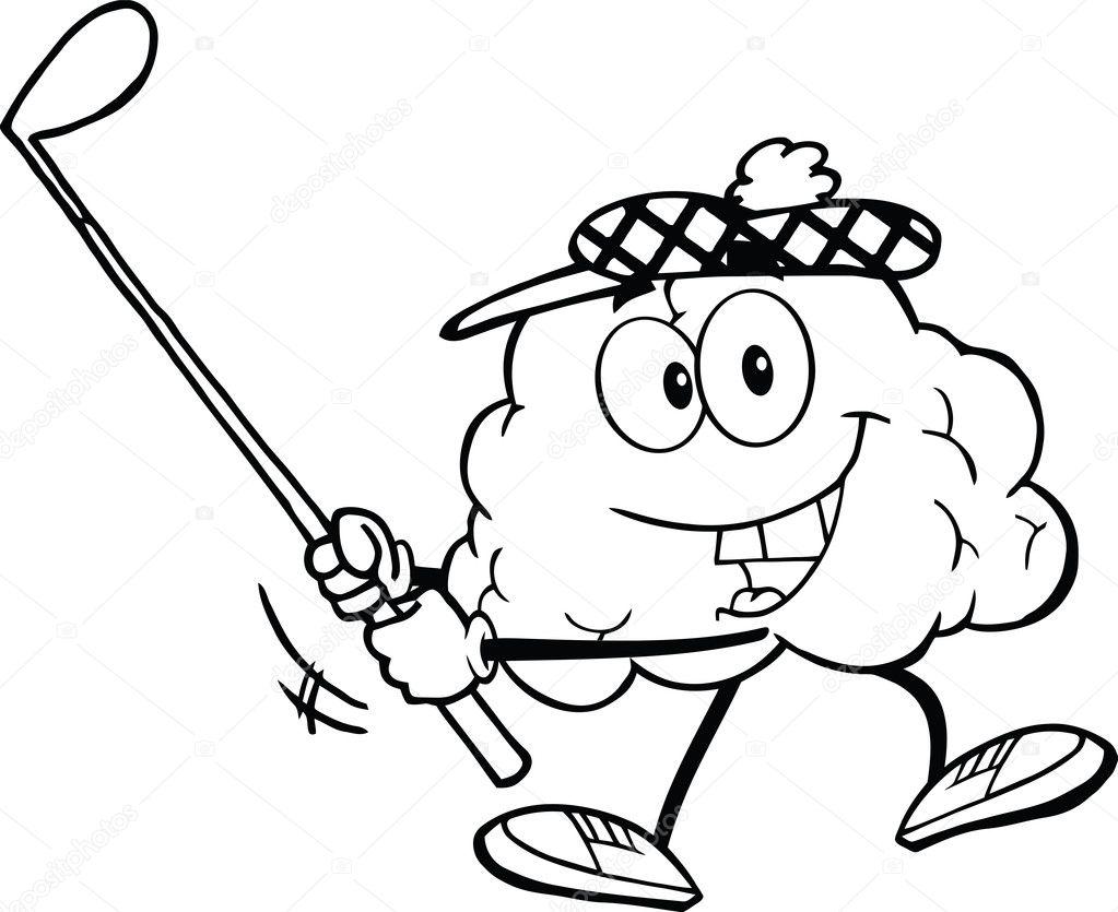 contorneado cerebro hacer pivotar un palo de golf — Fotos de Stock ...