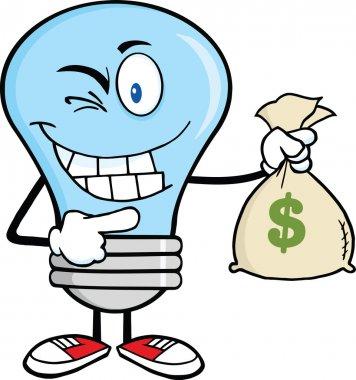 Blue Light Bulb Cartoon Character Holding A Bag Of Money