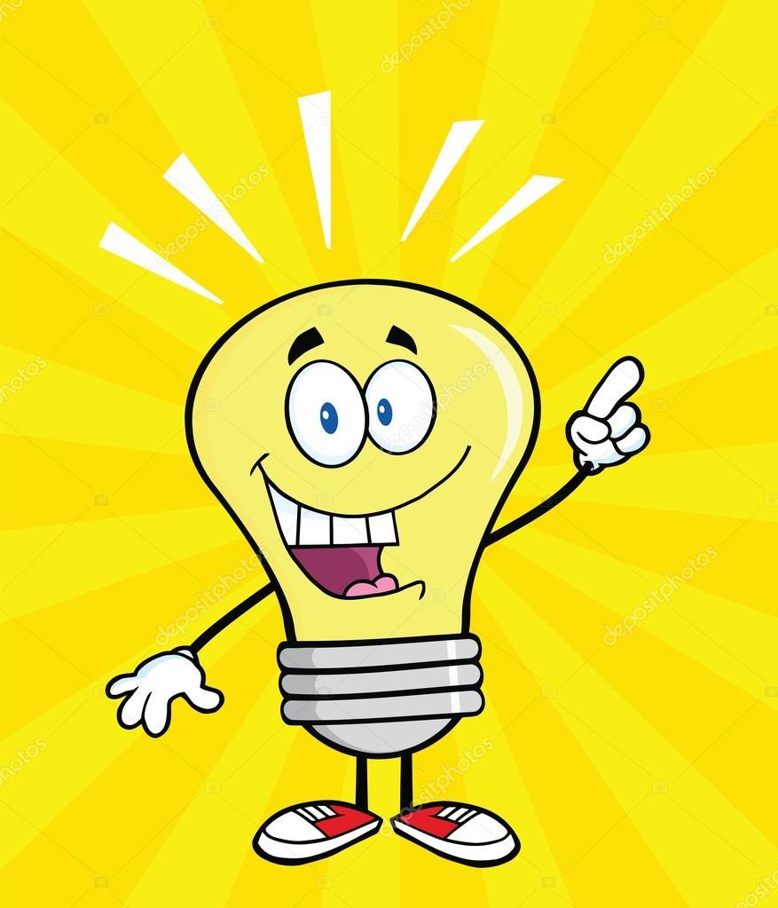 personnage de dessin anim d 39 ampoule avec une id e lumineuse photographie hittoon 29435257. Black Bedroom Furniture Sets. Home Design Ideas