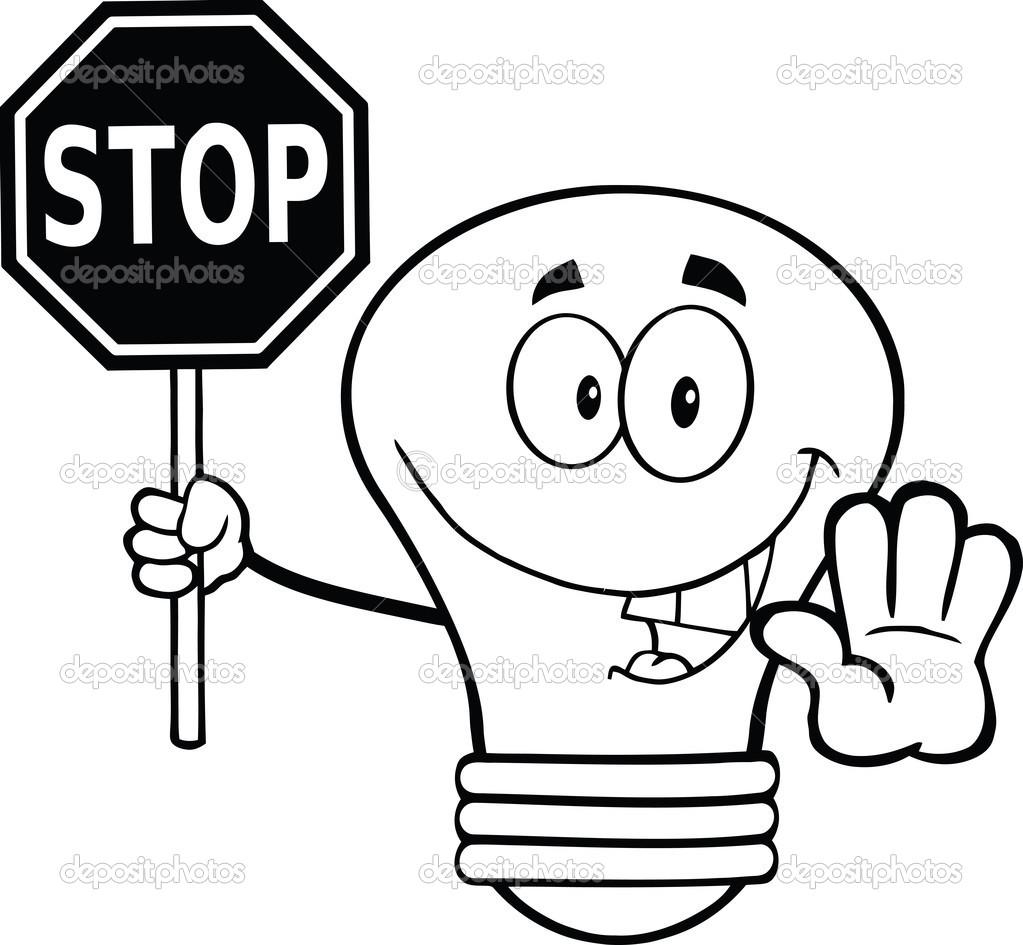 contorneado bombilla personaje sosteniendo una señal de stop — Foto ...