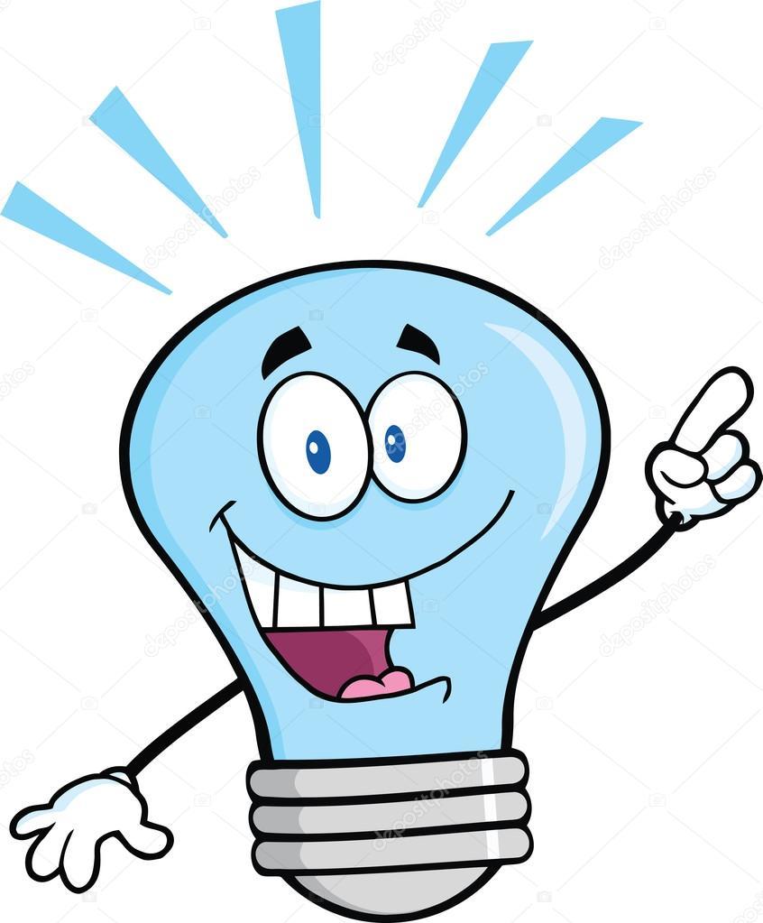 blaue gl hbirne cartoon figur mit einer hellen idee stockfoto hittoon 29435869. Black Bedroom Furniture Sets. Home Design Ideas