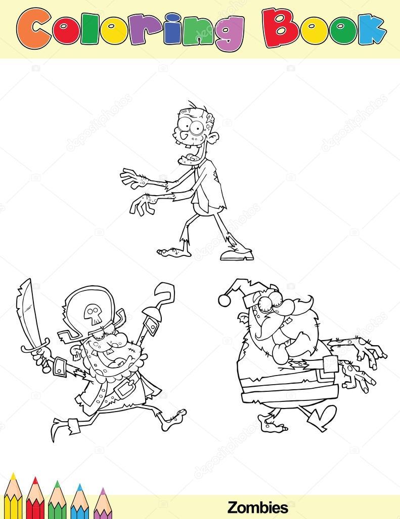 carácter de zombie de página de libro para colorear — Fotos de Stock ...