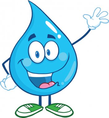 Water Drop Cartoon Character Waving For Greeting