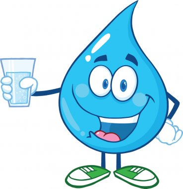 Water Drop Character Holding A Water Glass