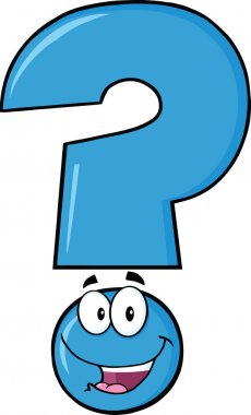 Happy Blue Question Mark Character