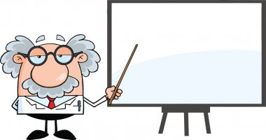 Funny Scientist Or Professor With Pointer Presenting On A Board