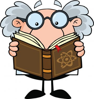 Funny Scientist Or Professor Reading A Book
