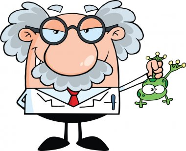 Smiling Mad Scientist Or Professor Holding A Frog
