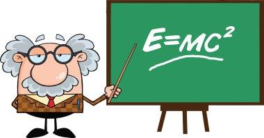 Professor With Pointer Presenting Einstein Formula