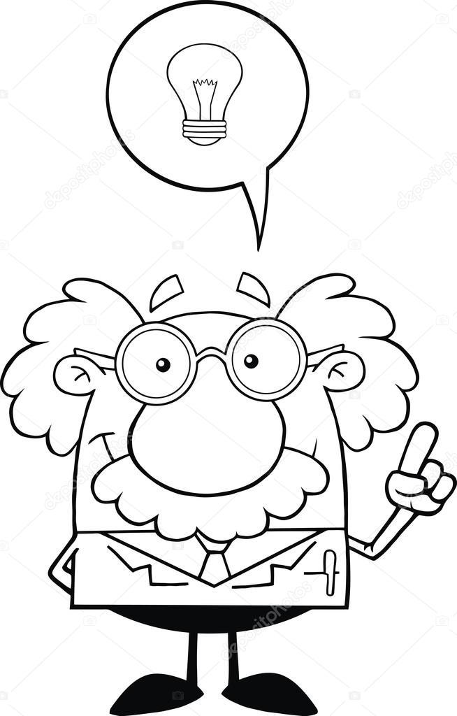 blanco y negro sonriendo científico o profesor con buena idea — Foto ...