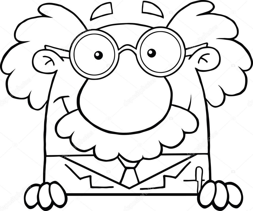 blanco y negro científico o profesor sobre muestra — Fotos de Stock ...