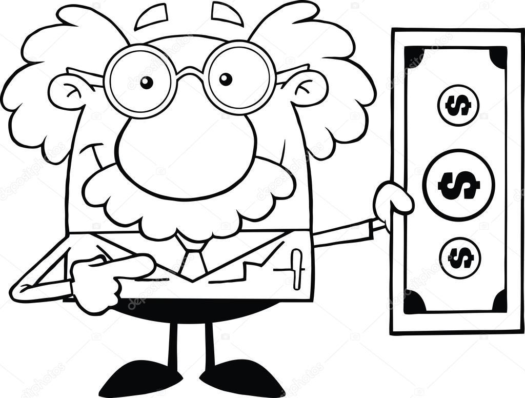 blanco y negro científico o profesor mostrando un billete de dólar ...