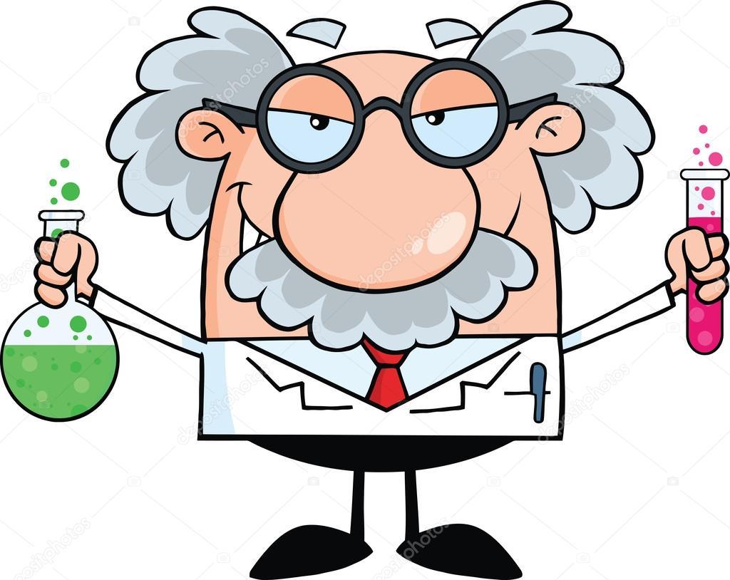 savant fou ou professeur tenant une bouteille et la fiole science clip art images science clip art images
