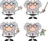 Fotografia personaggi dei cartoni animati di scienziato o professore impostare raccolta 4