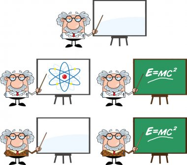 Scientist Or Professor Cartoon Characters Set Collection 2