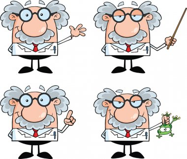 Scientist Or Professor Cartoon Characters Set Collection 4