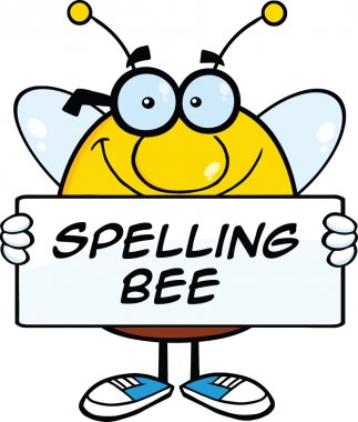 Smiling Pudgy Bee Cartoon Mascot Character Holding A Banner With Text stock vector