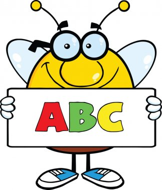 Smiling Pudgy Bee Character Holding A Banner With Text ABC