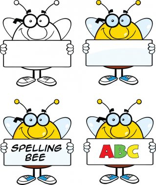 Bee Cartoon Characters Set Collection 4