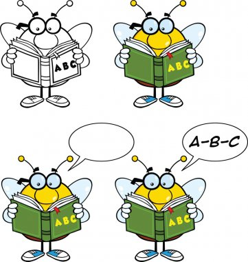 Bee Cartoon Characters Set Collection 5