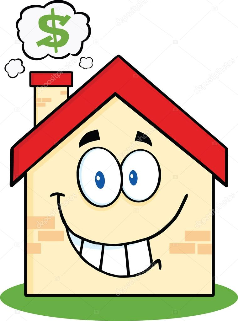 Cartoon Characters Houses : Smiling house cartoon character with smoke cloud and