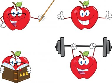 Apples Cartoon Mascot Characters. Set Collection 10