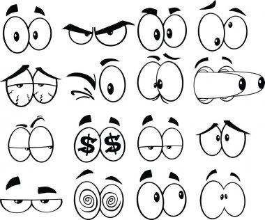 Black and White Cartoon Funny Eyes