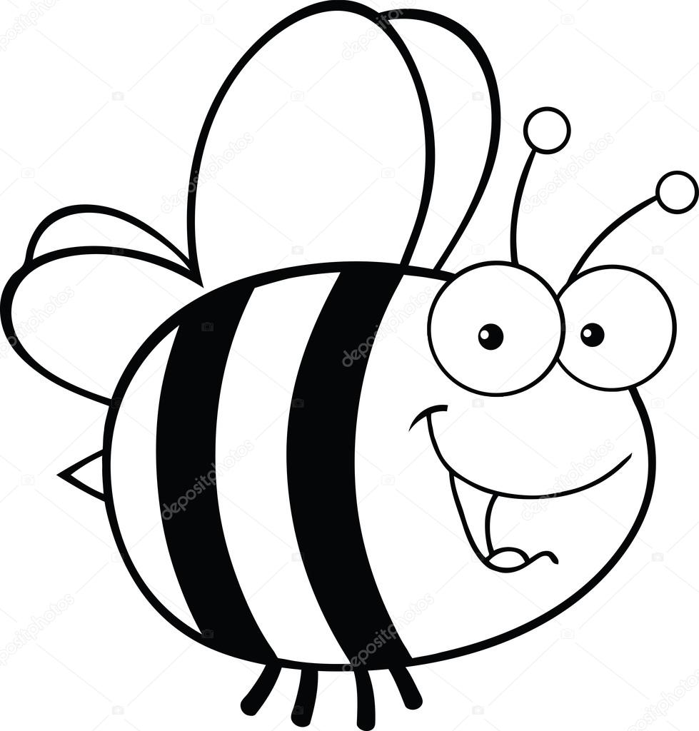Cartoon Characters Black And White : Black and white cute bee cartoon character — stock photo