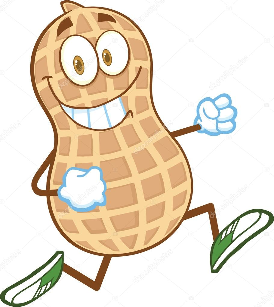 Smiling Peanut Cartoon Character Running — Stock Photo ...