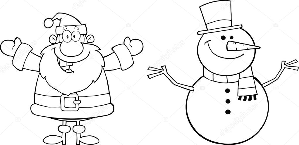 Black And White Happy Santa Claus And Snowman Stock