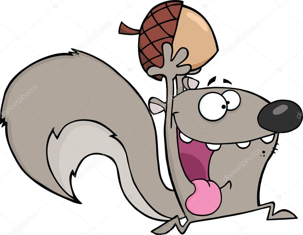 Cartoon Pic Of Squirrel: Crazy Gray Squirrel Cartoon Character Running With Acorn