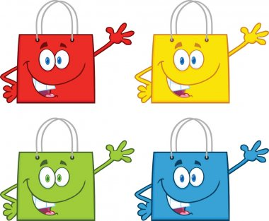 Shopping Bag Stars Cartoon Mascot Characters Waving. Collection Set stock vector