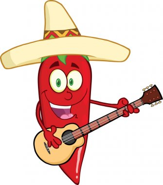 Red Chili Pepper Character With Mexican Hat Playing A Guitar