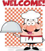 Šéfkuchař postava drží tác s textem
