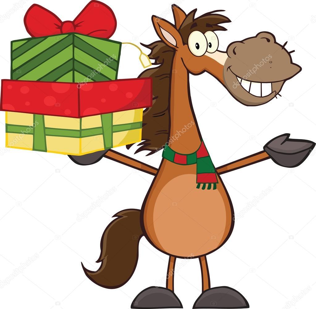 personnage de dessin anim cheval souriant brandissant une pile de cadeaux photo - Cadeau Cheval