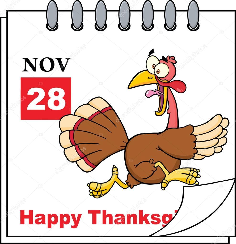 Calendario di festa del ringraziamento con fuga turchia