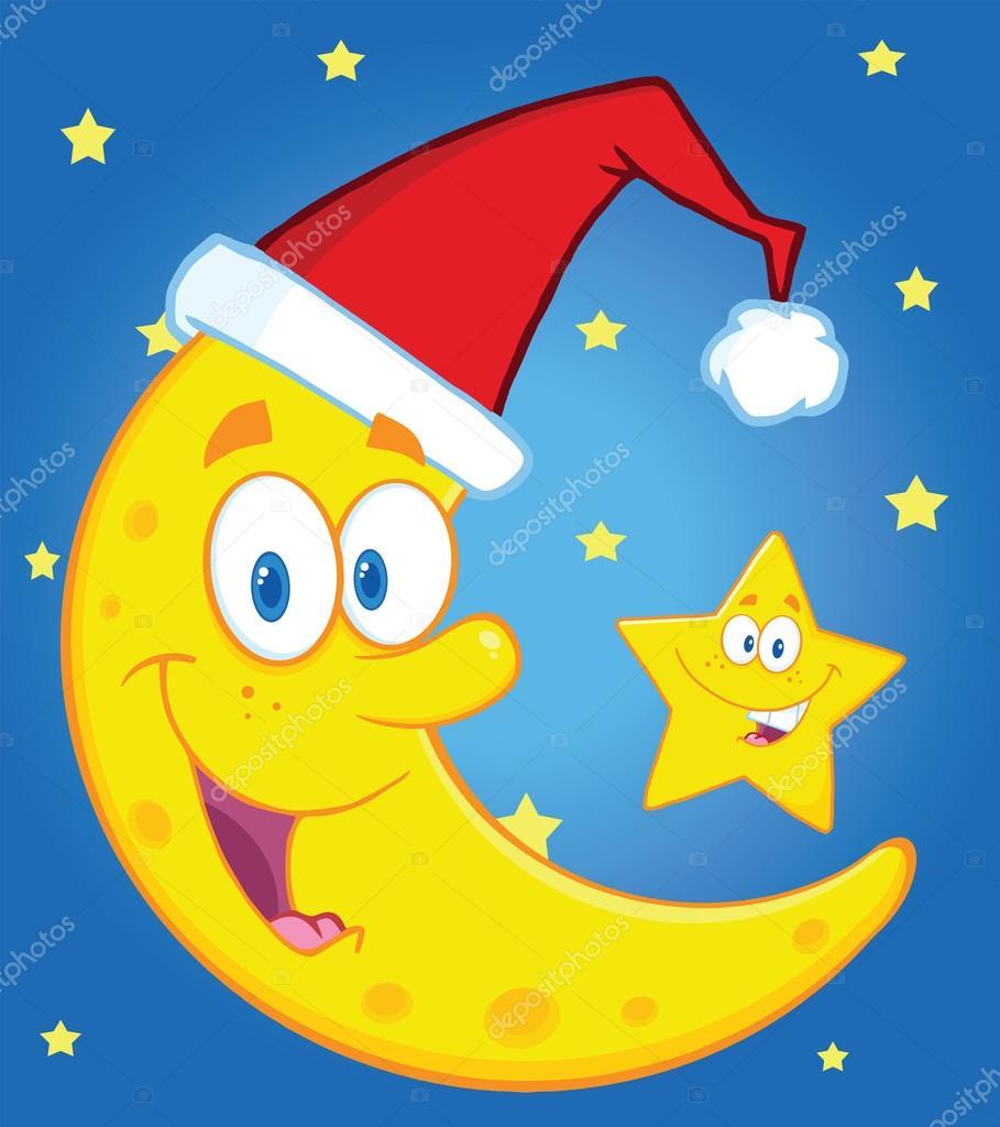 Souriant Le Croissant De Lune Avec Bonnet De Noel Et Joyeux Noel