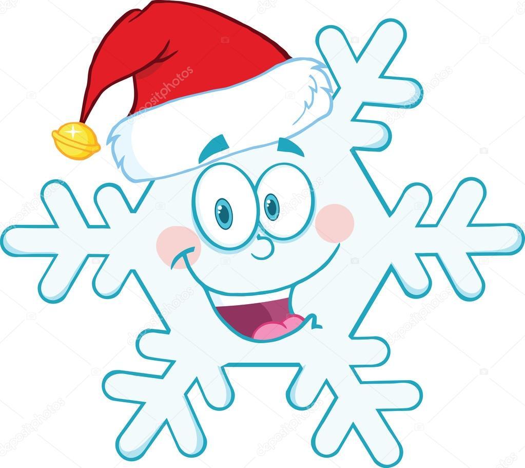 Cute Snowflake Cartoon Mascot Character With Santa Hat
