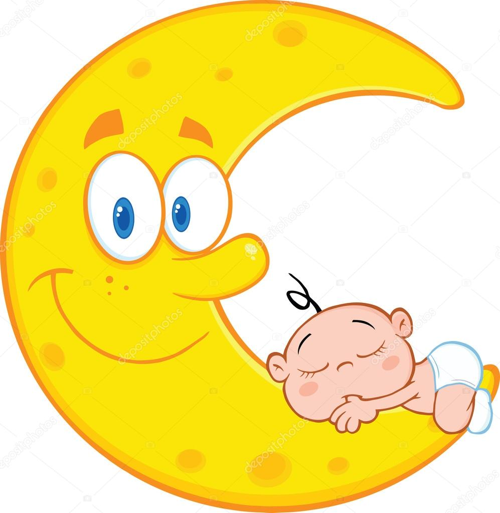 Cute Baby Boy Sleeps On The Smiling Moon