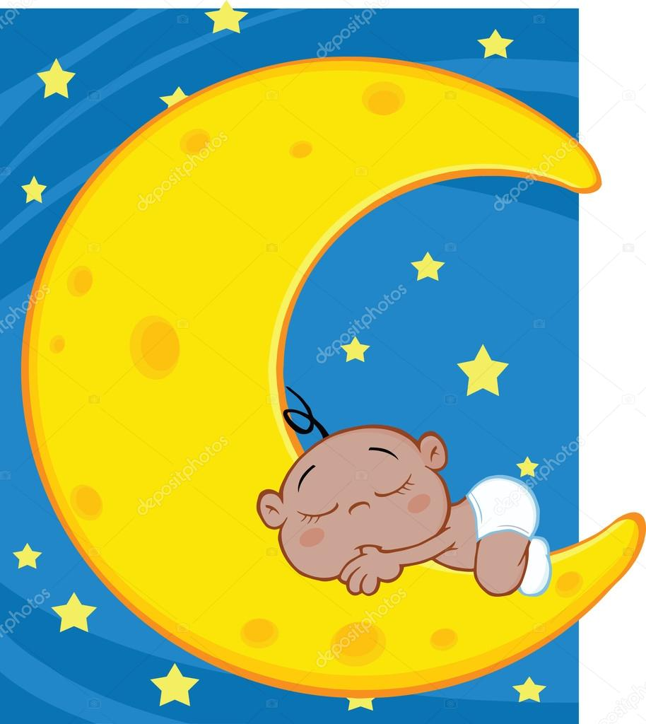 Cute African American Baby Boy Sleeps On Moon Over Blue Sky With Stars