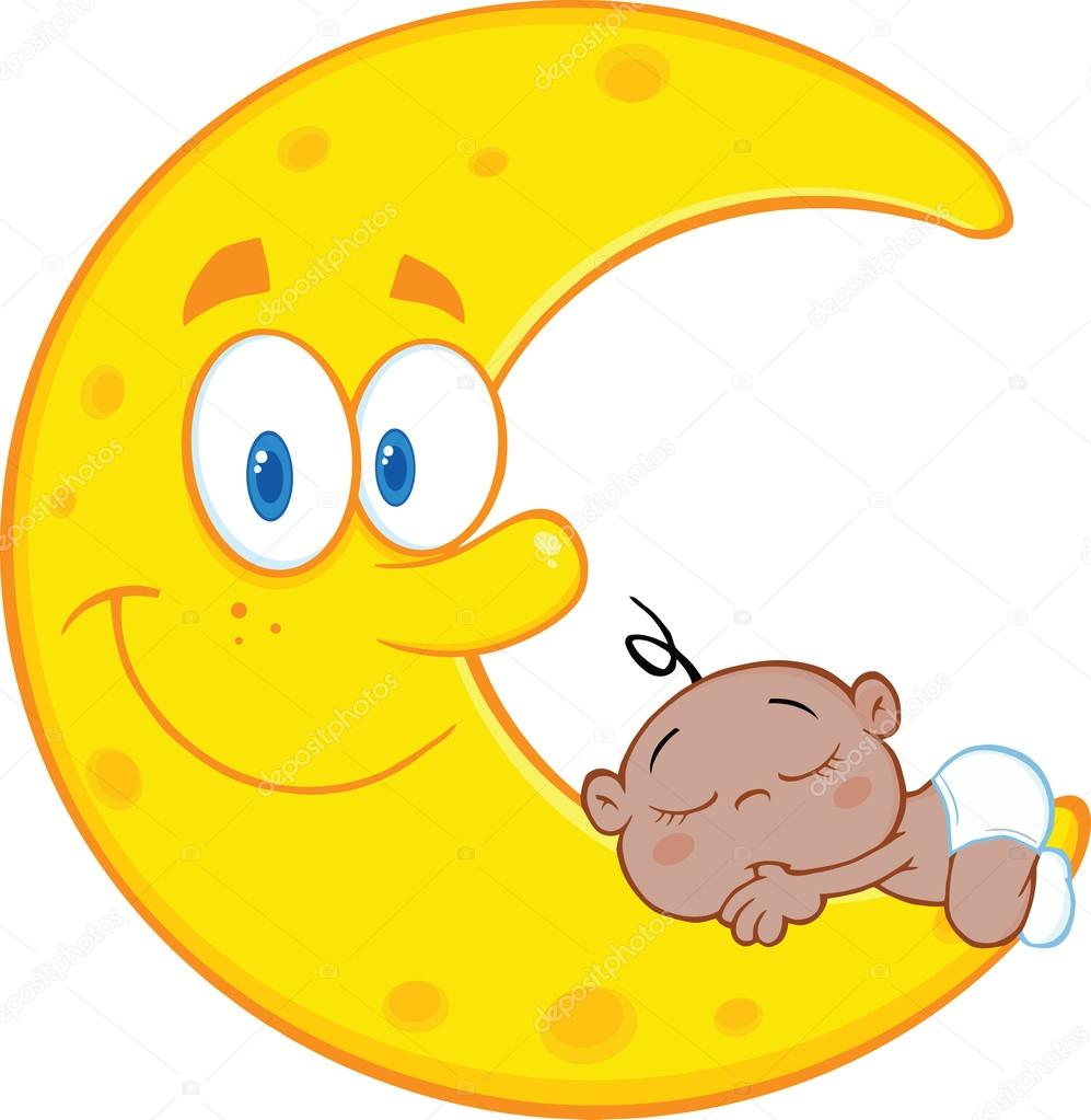 Cute African American Baby Boy Sleeps On The Smiling Moon