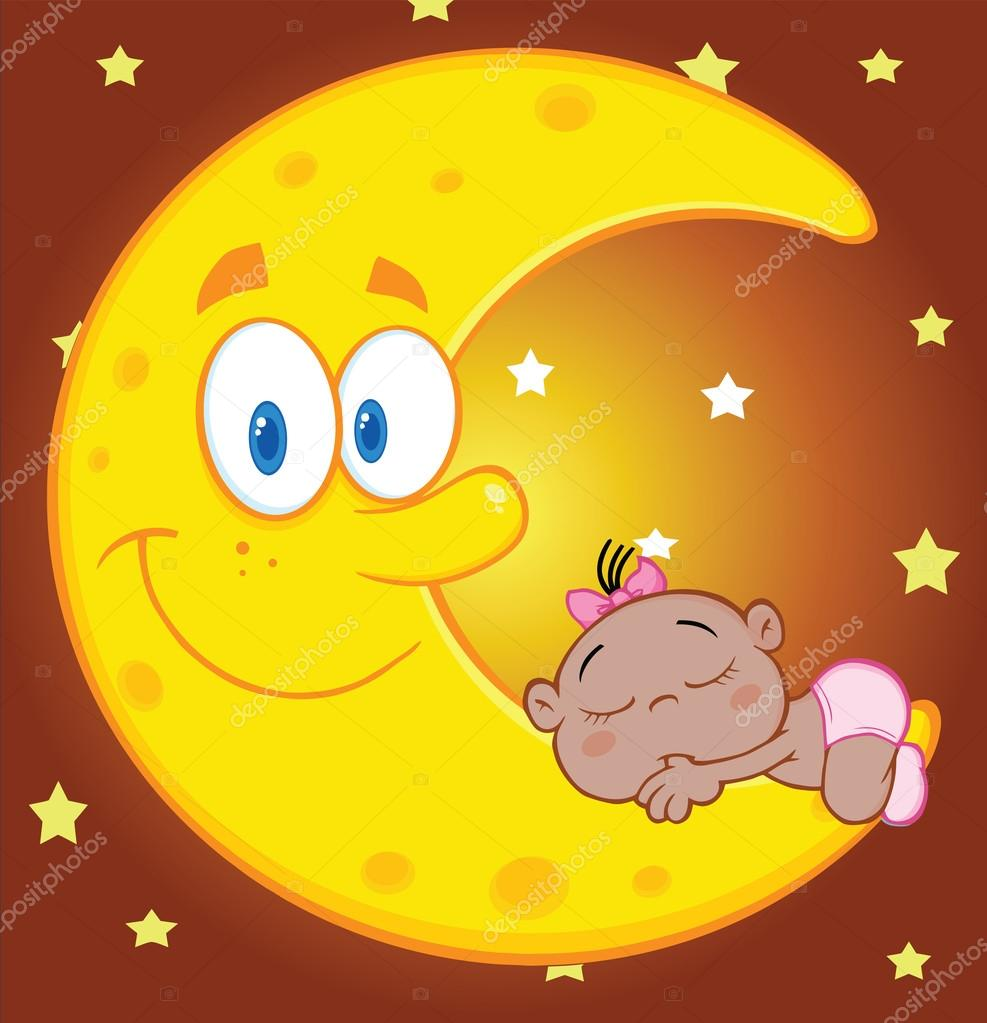 Cute African American Baby Girl Sleeps On The Smiling Moon