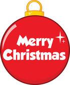 Fotografie červená vánoční koule s textem