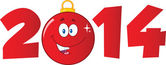 Photo 2014 Year Numbers With Cartoon Red Christmas Ball